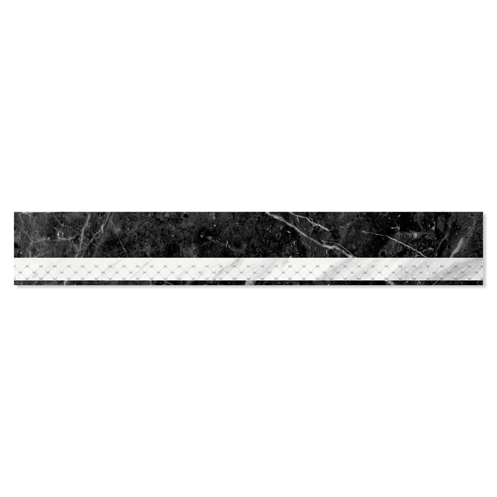 Calcatta Marmor Dekor Svart-Vit 4x25 cm