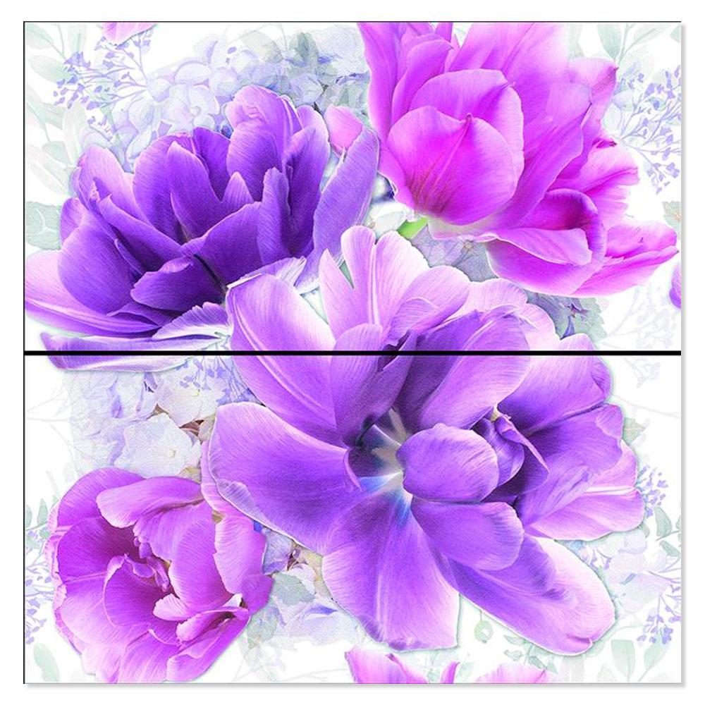 Blommigt Kakel Ada Flerfärgad Grå Violet 25x50 cm
