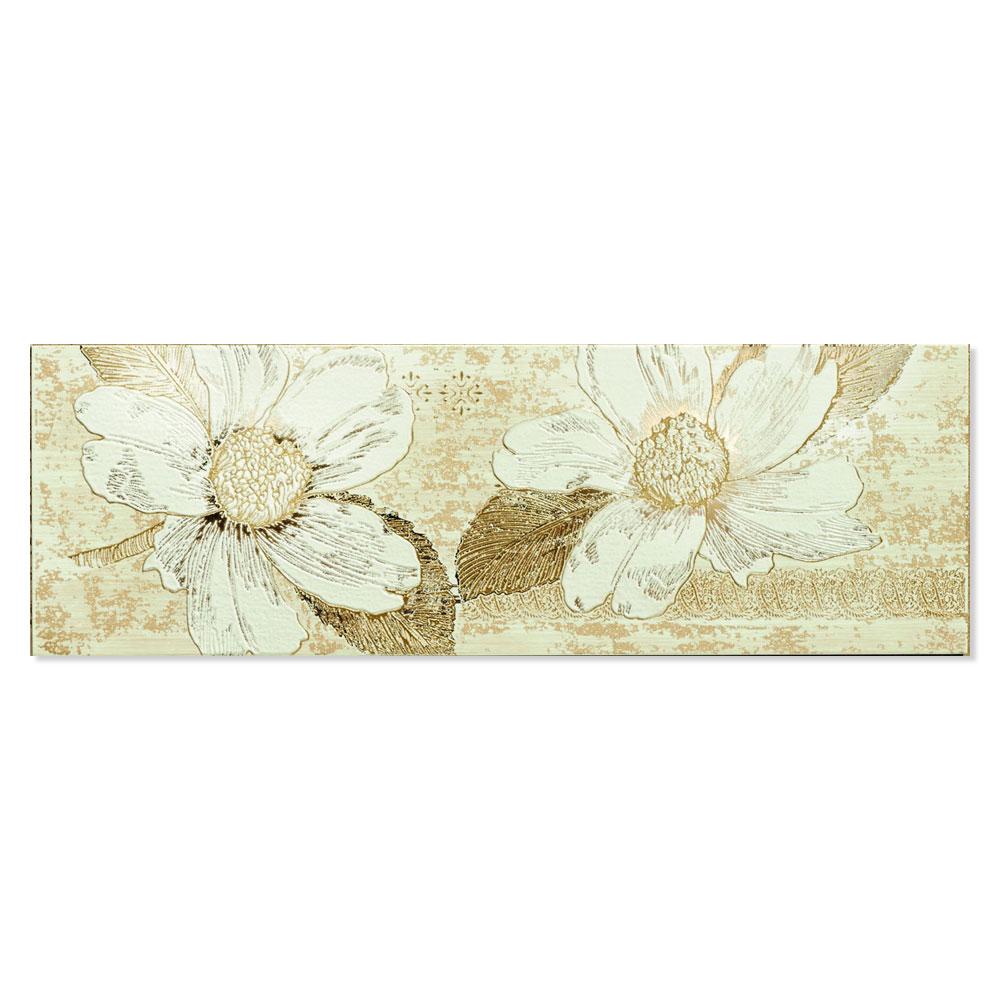 Blommigt Kakel Almere Flerfärgad Beige 25x75 cm