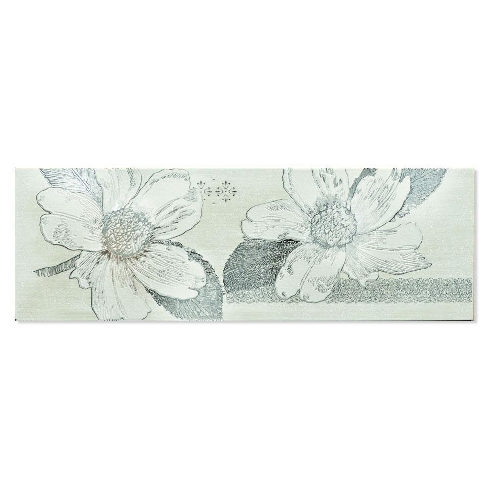 Blommigt Kakel Almere Flerfärgad Blå 25x75 cm