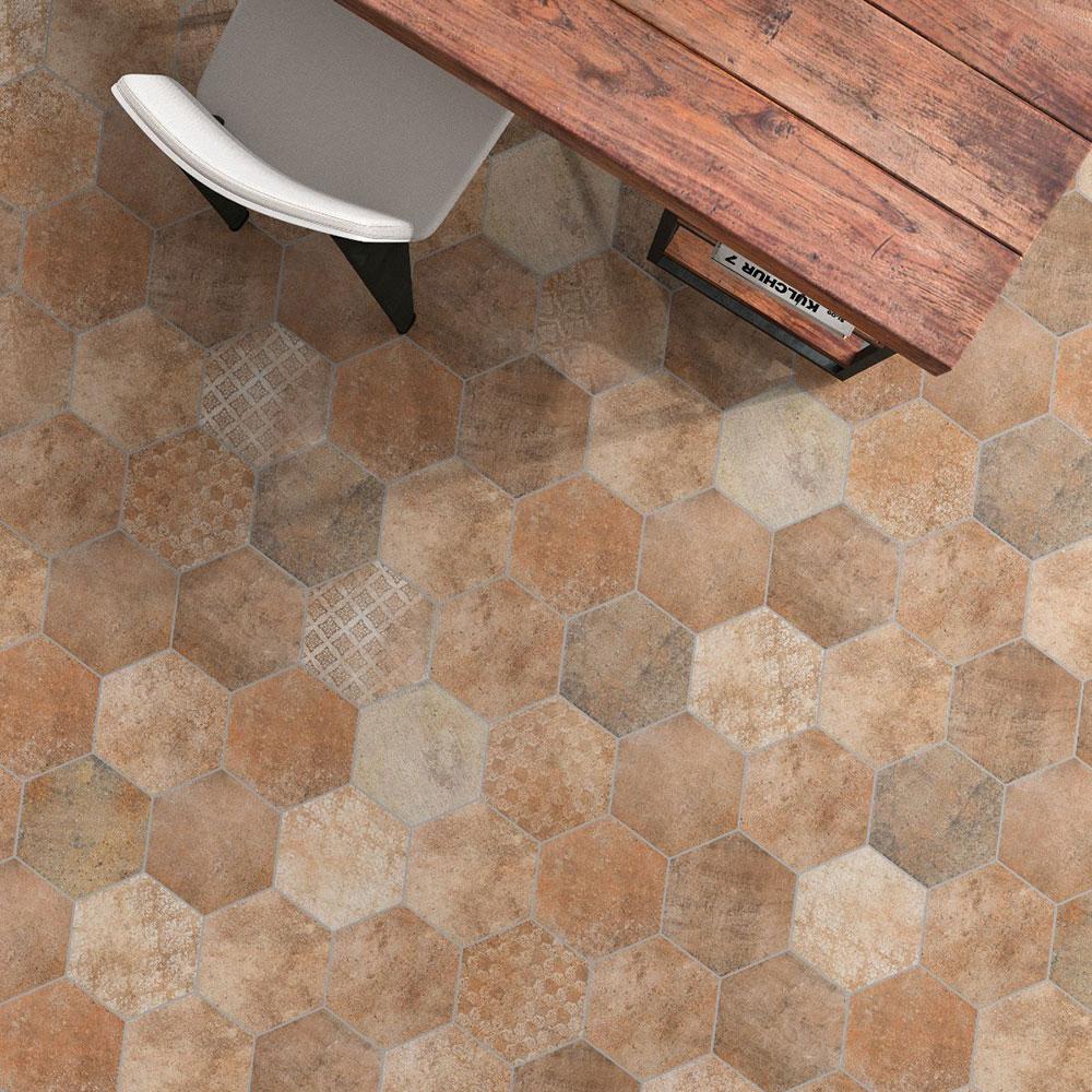 Hexagon Klinker Abadía Brun Mönstrad 25x22 cm