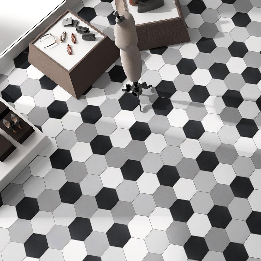 Hexagon Klinker Basic Vit 25x22 cm