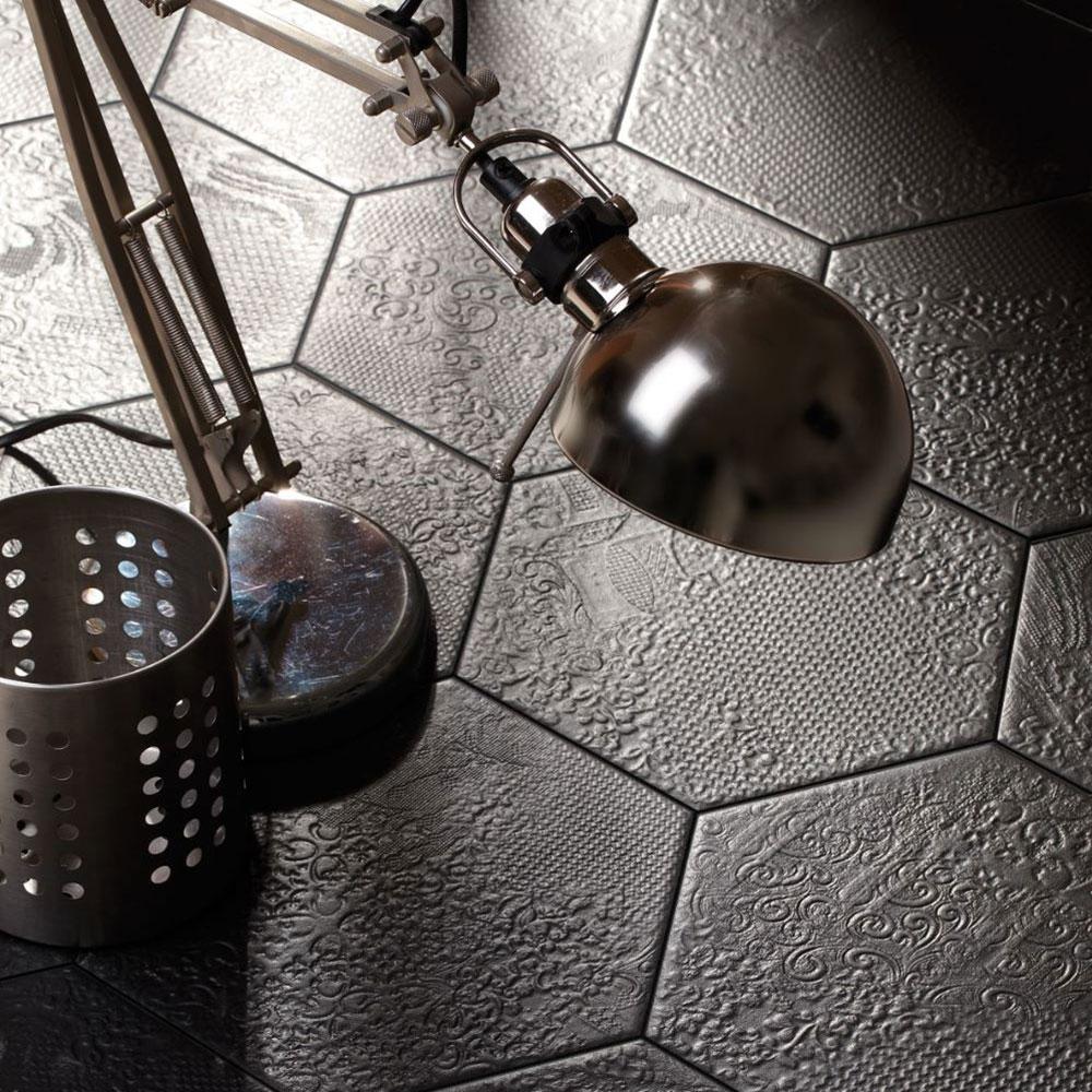 Hexagon Klinker Milano Svart 25x22 cm
