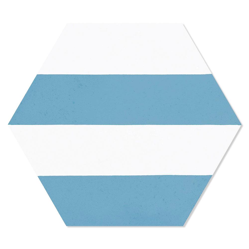 Hexagon Klinker Porto Hex 25 Blå Linje1 25x22 cm