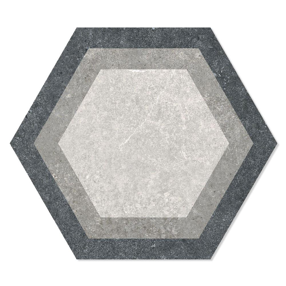 Hexagon Klinker Traffic Hex 25 Grå-Beige Mönstrad 25x22 cm