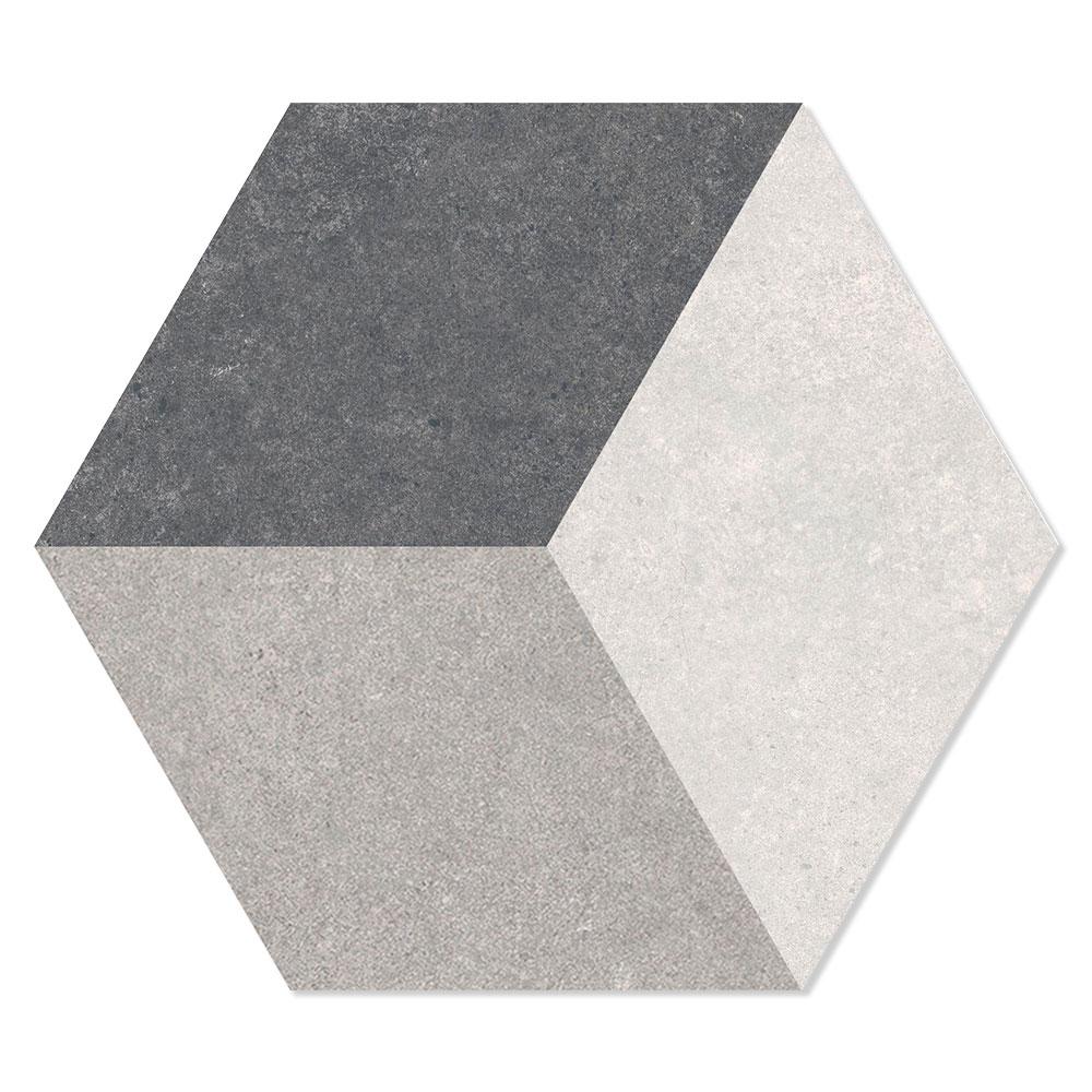 Hexagon Klinker Traffic Hex 25 Grå Mönstrad 25x22 cm
