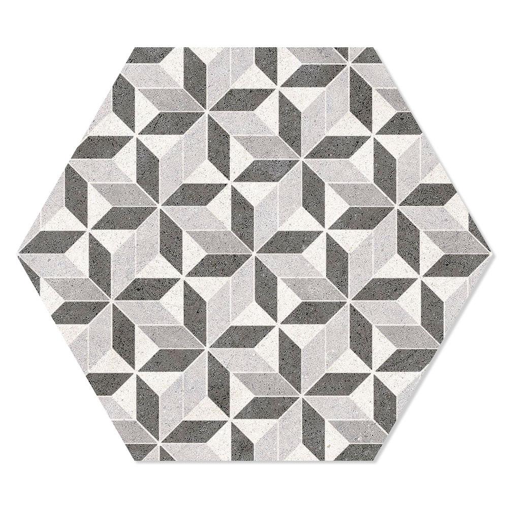 Hexagon Klinker Vintage Mix Flerfärgad 25x22 cm
