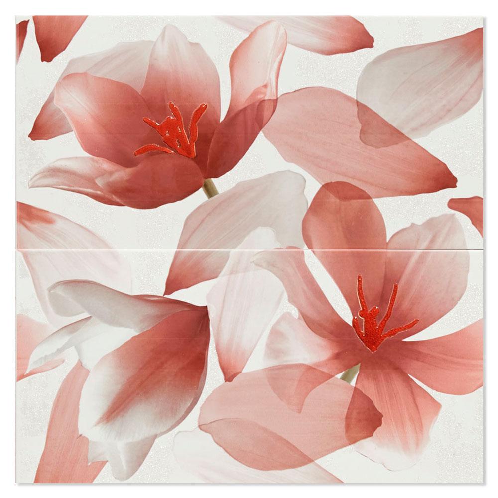 Blommigt Kakel Ada Flerfärgad Röd 25x50 cm