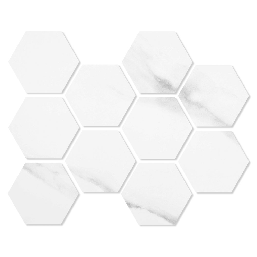 Hexagon Mosaik Klinker Duomo Vit 21x30 cm