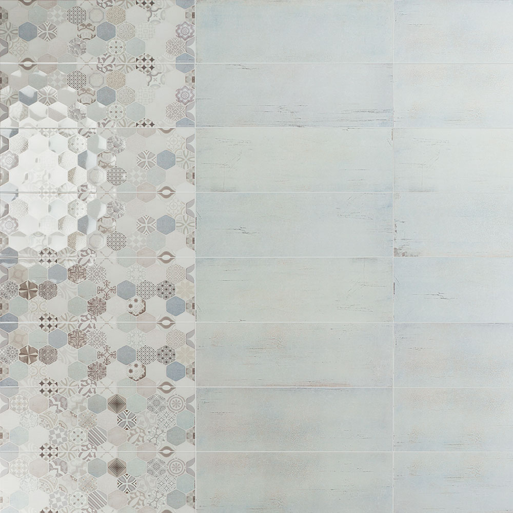 Dekor Kakel Calanque Flerfärgad Rund Mönstrad 2 Blank 25x75 cm