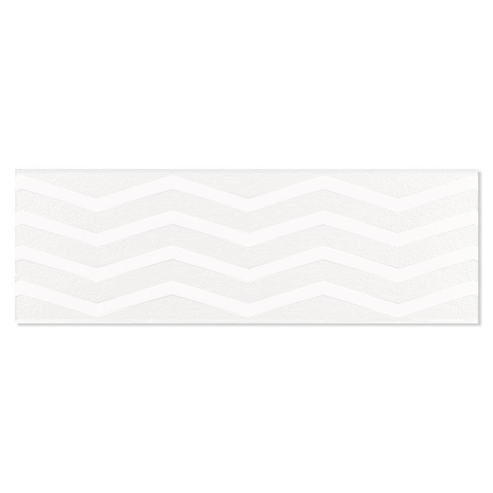 Dekor Kakel Chalk Vit Matt-Relief Mönstrad 2 Rak 40x120 cm