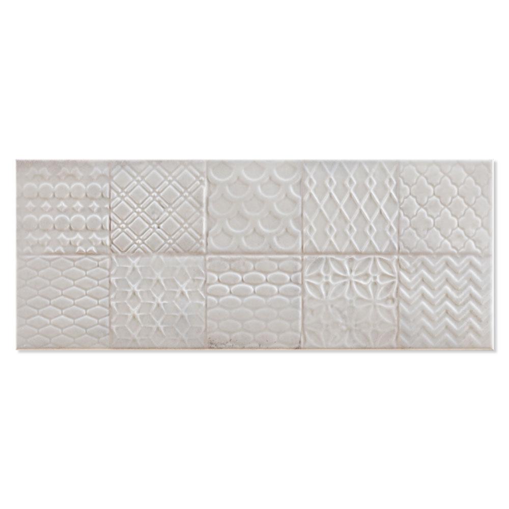 Dekor Kakel Folk Ljusgrå Blank Rund 20x50 cm