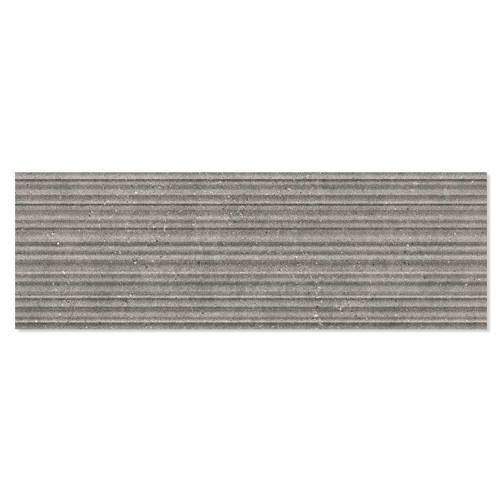 Dekor Kakel Kalksten Grå Matt-Relief Rak 30x90 cm