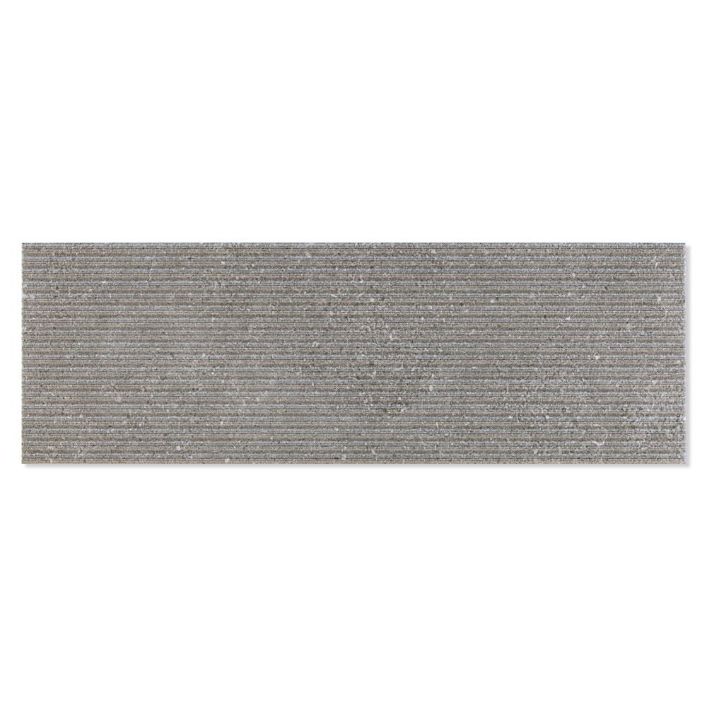 Dekor Kakel Kalksten Grå Matt-Relief Rund 25x75 cm