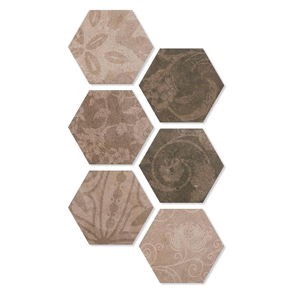Hexagon Klinker Carabana Brun Matt Mönstrad Rund 25x22 cm