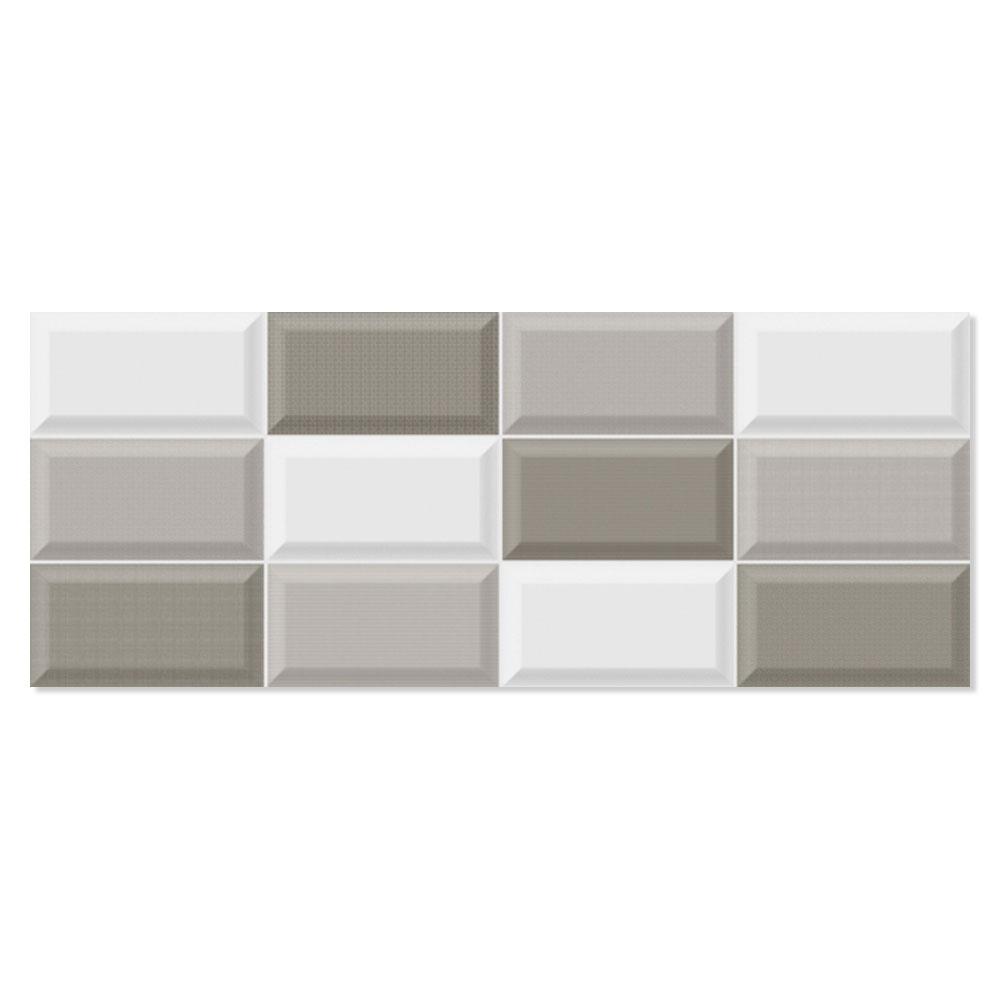 Kakel Batim Grå-Ljusgrå-Beige Blank Fasat Rund 20x50 cm