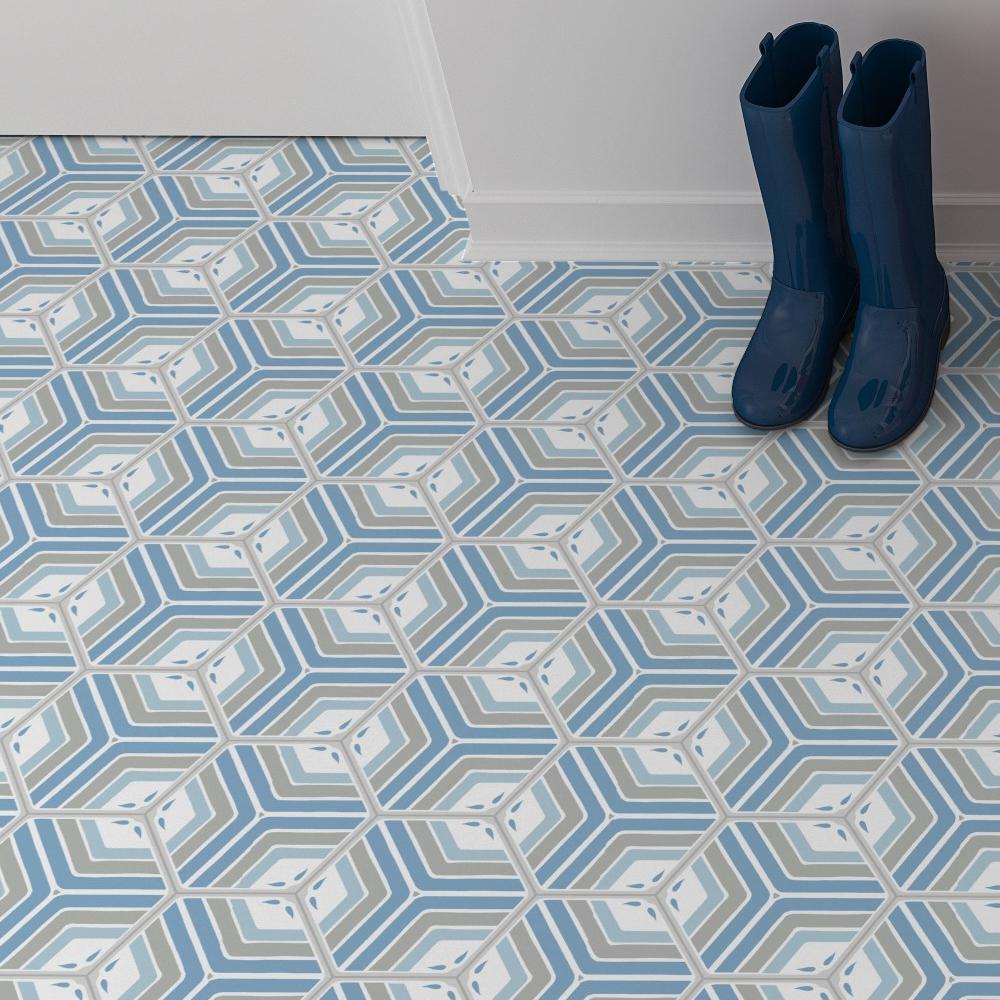 Hexagon Klinker Deza Blå-Vit 22x25 cm