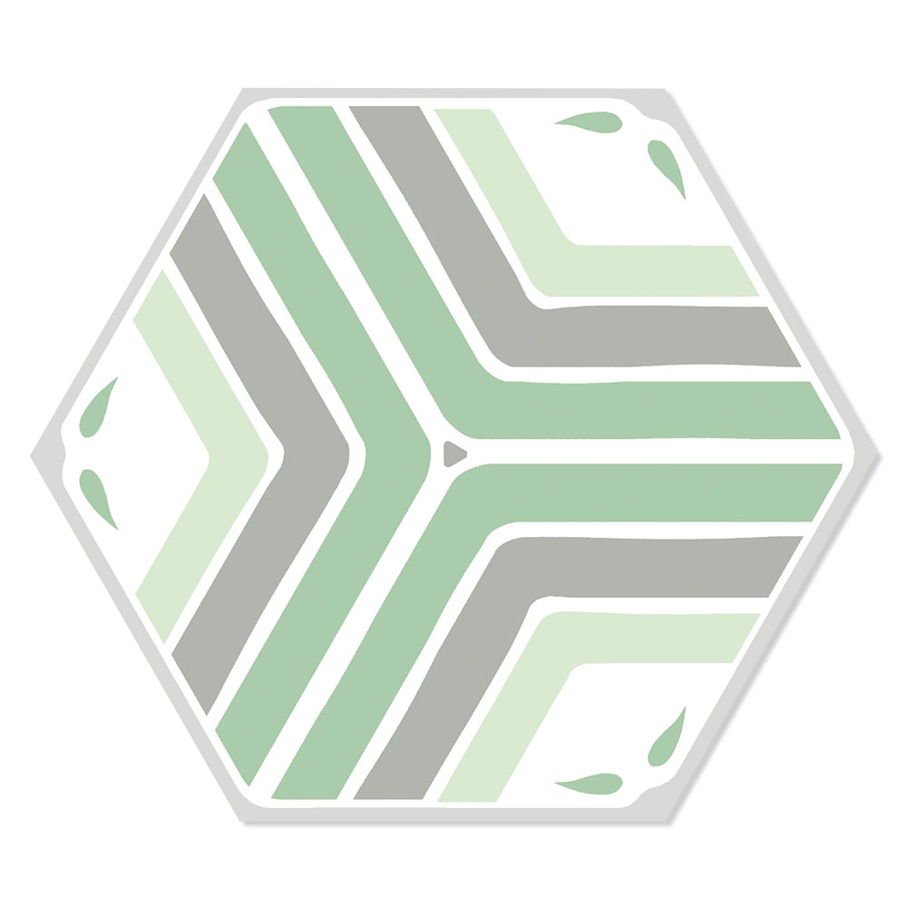 Hexagon Klinker Deza Grön-Vit 22x25 cm