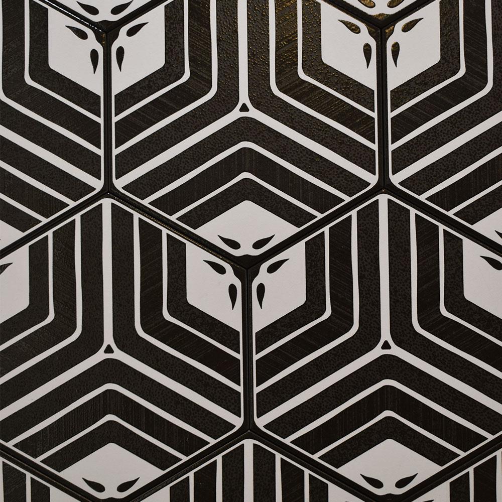 Hexagon Klinker Deza Svart-Vit 22x25 cm