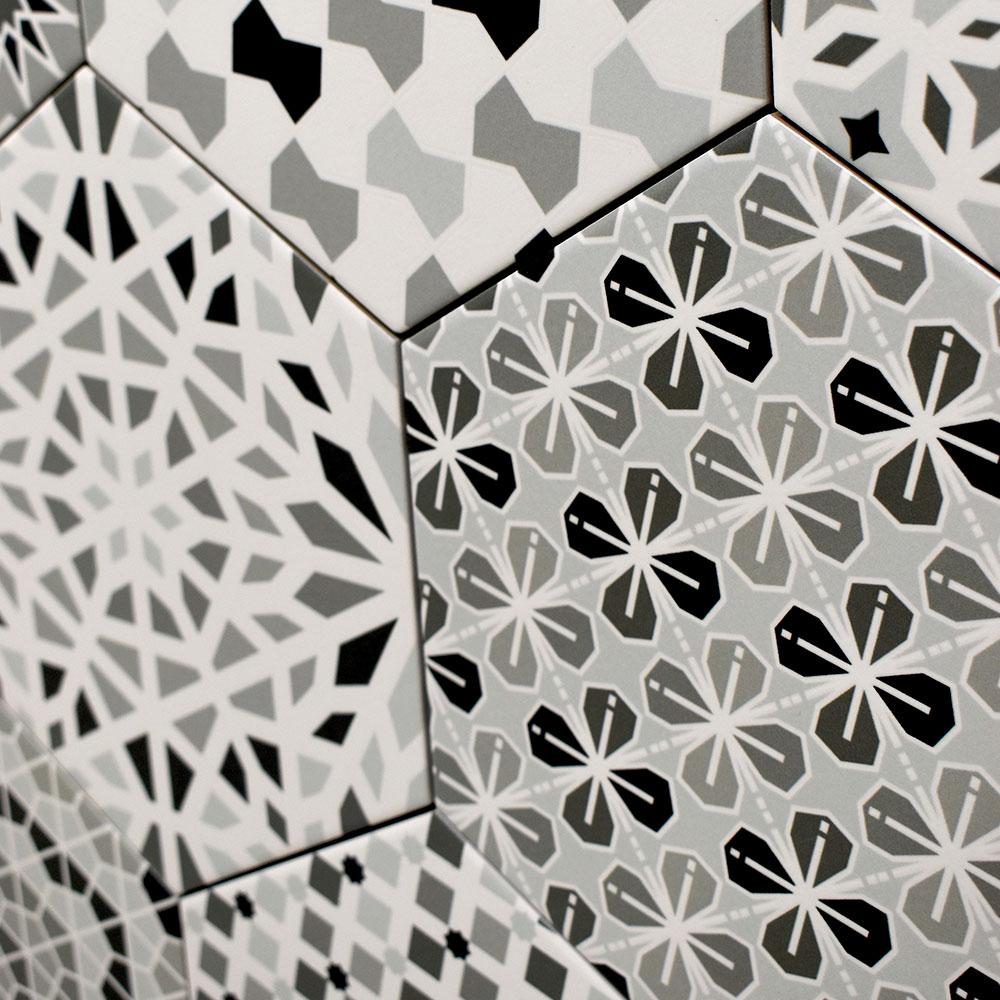 Hexagon Klinker Kasbah Svart-Vit 22x25 cm