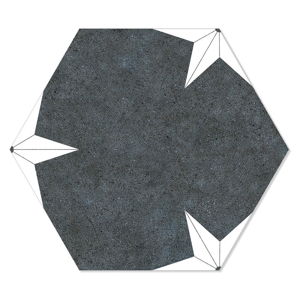 Hexagon Klinker Stella Svart-Vit Mönstrad 22x25 cm