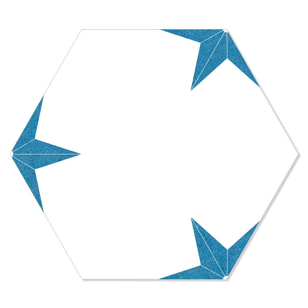 Hexagon Klinker Stella Vit-Blå Mönstrad 22x25 cm