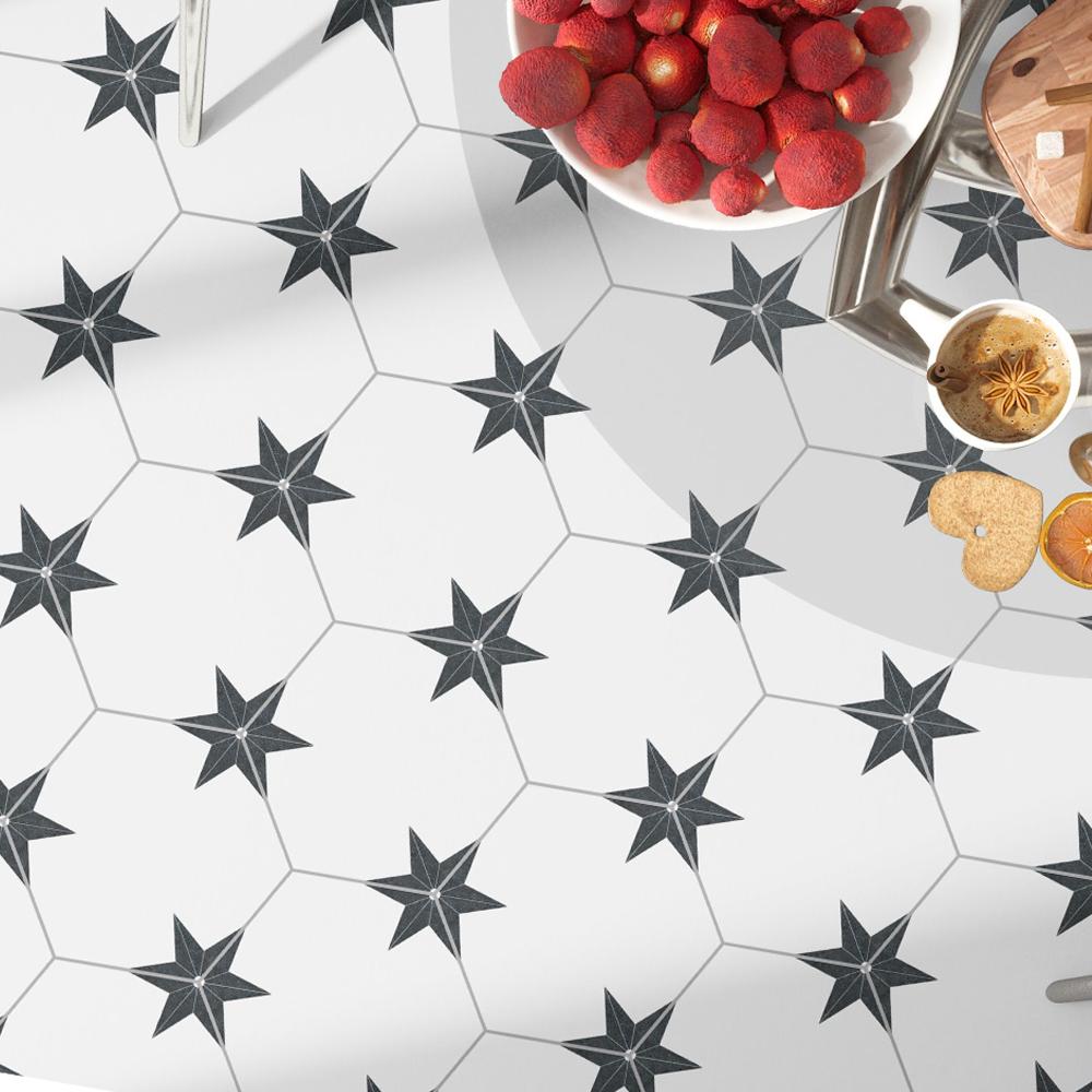 Hexagon Klinker Stella Vit Mönstrad 22x25 cm