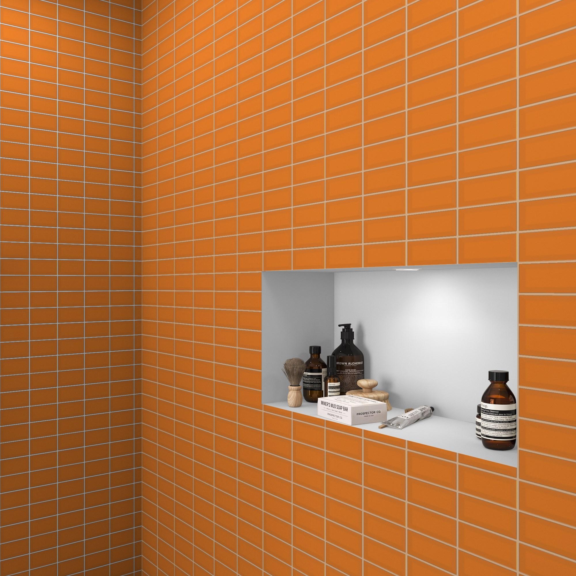 Fasat Kakel Monocolor Orange Matt 7.5x15 cm