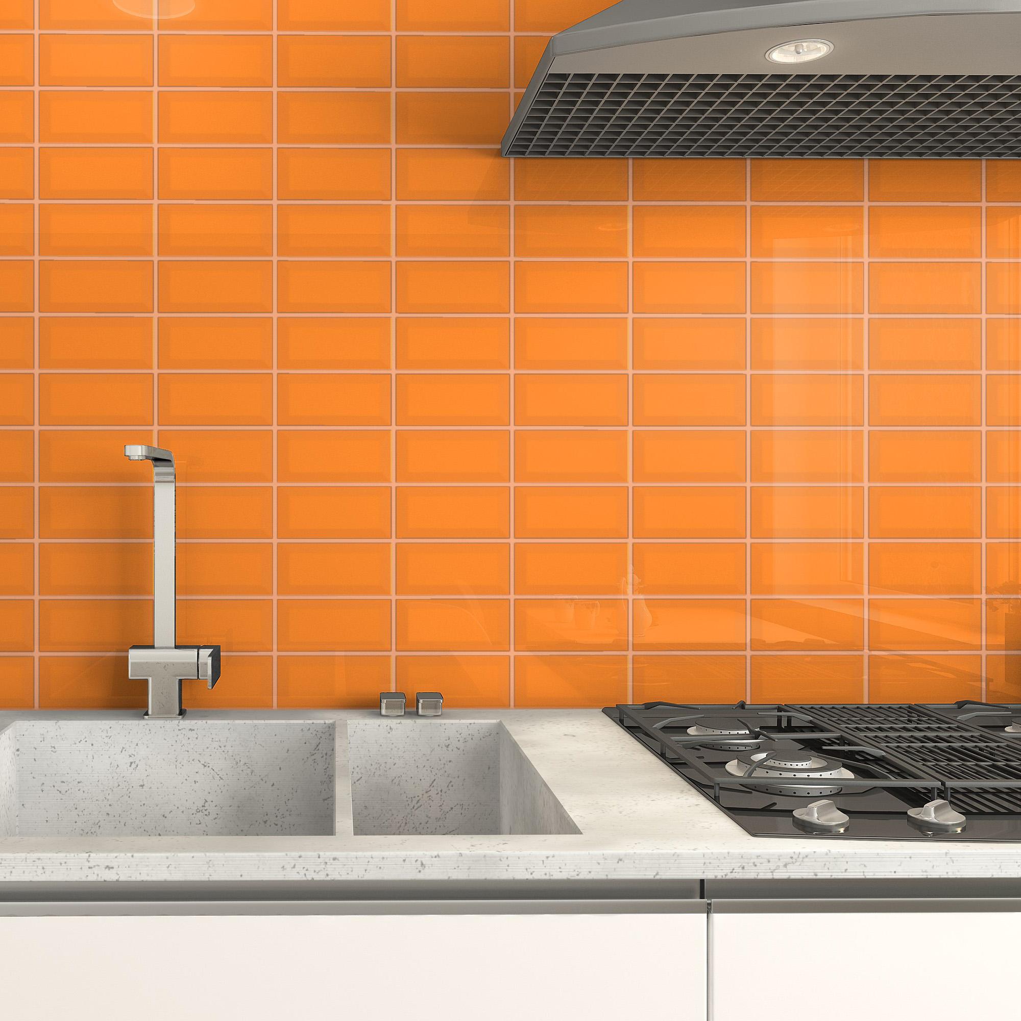 Fasat Kakel Monocolor Orange Blank 7.5x15 cm