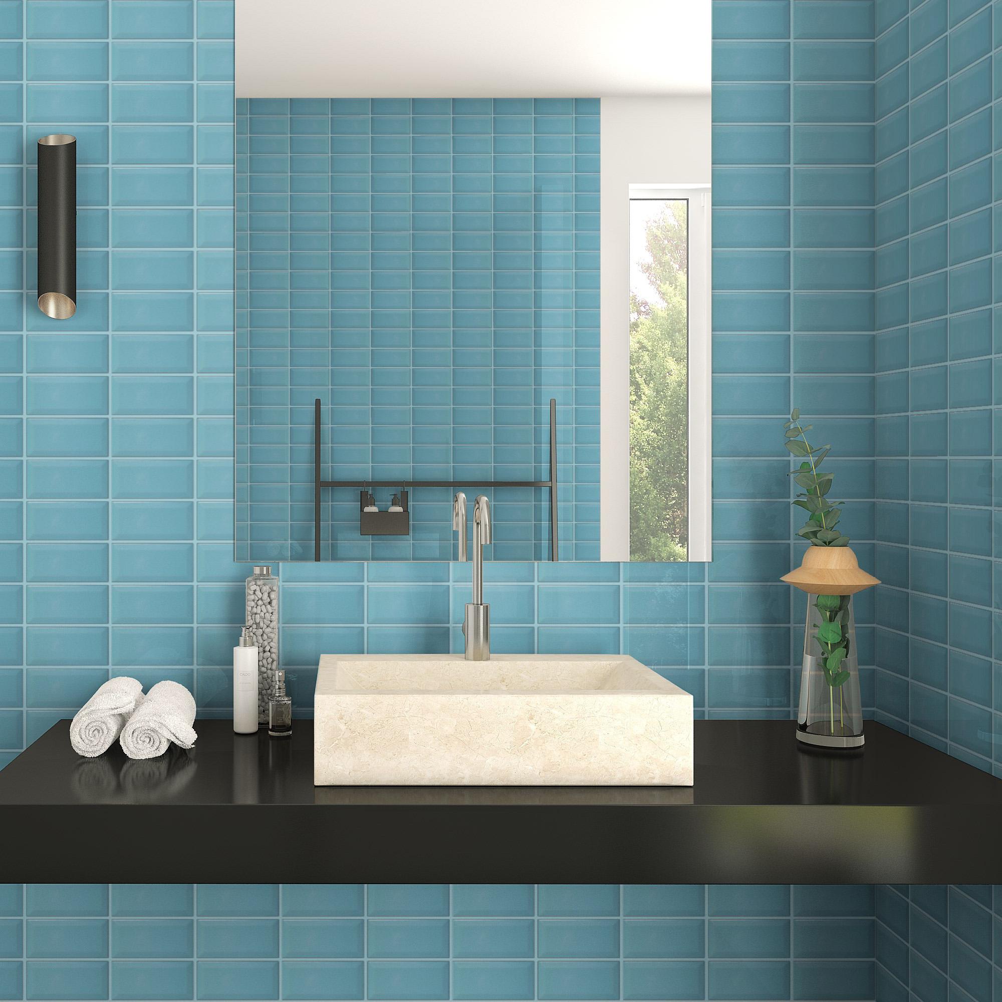 Fasat Kakel Monocolor Blå Water Blank 7.5x15 cm
