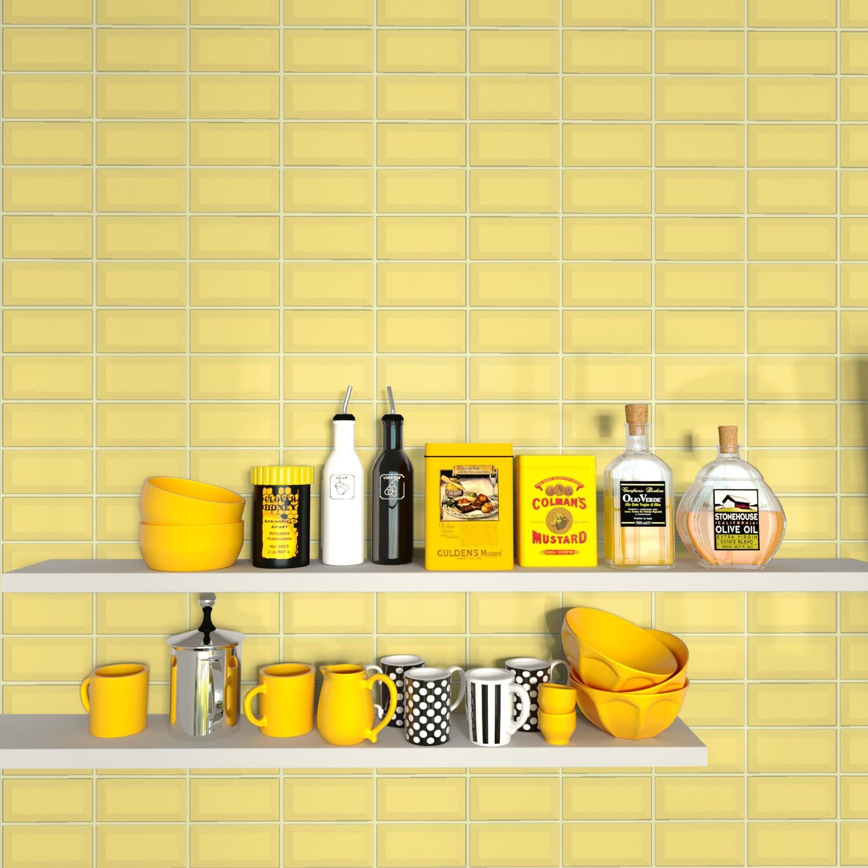 Fasat Kakel Monocolor Gul Blank 7.5x15 cm