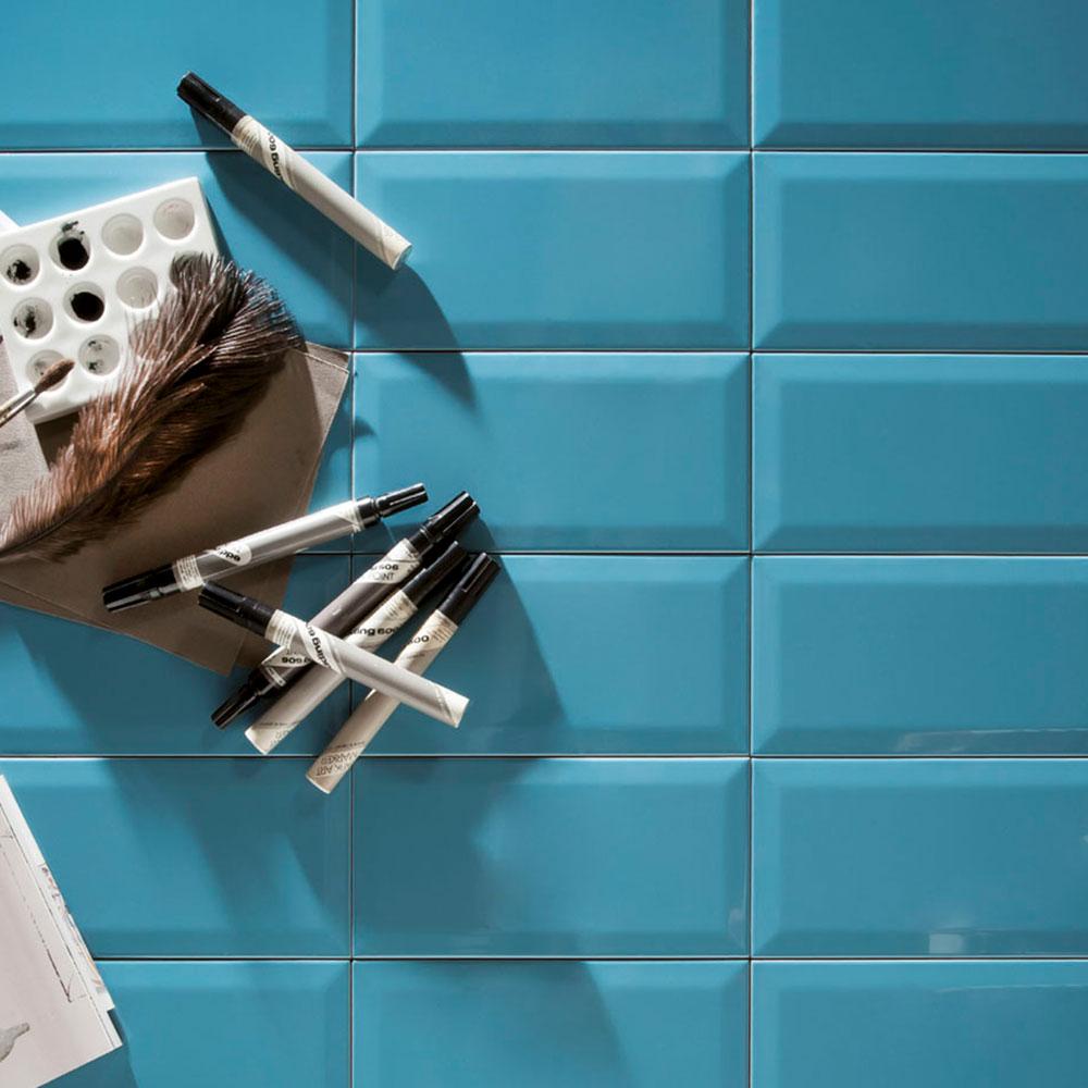 Fasat Kakel Monocolor Blå Aqua Blue Blank 7.5x15 cm