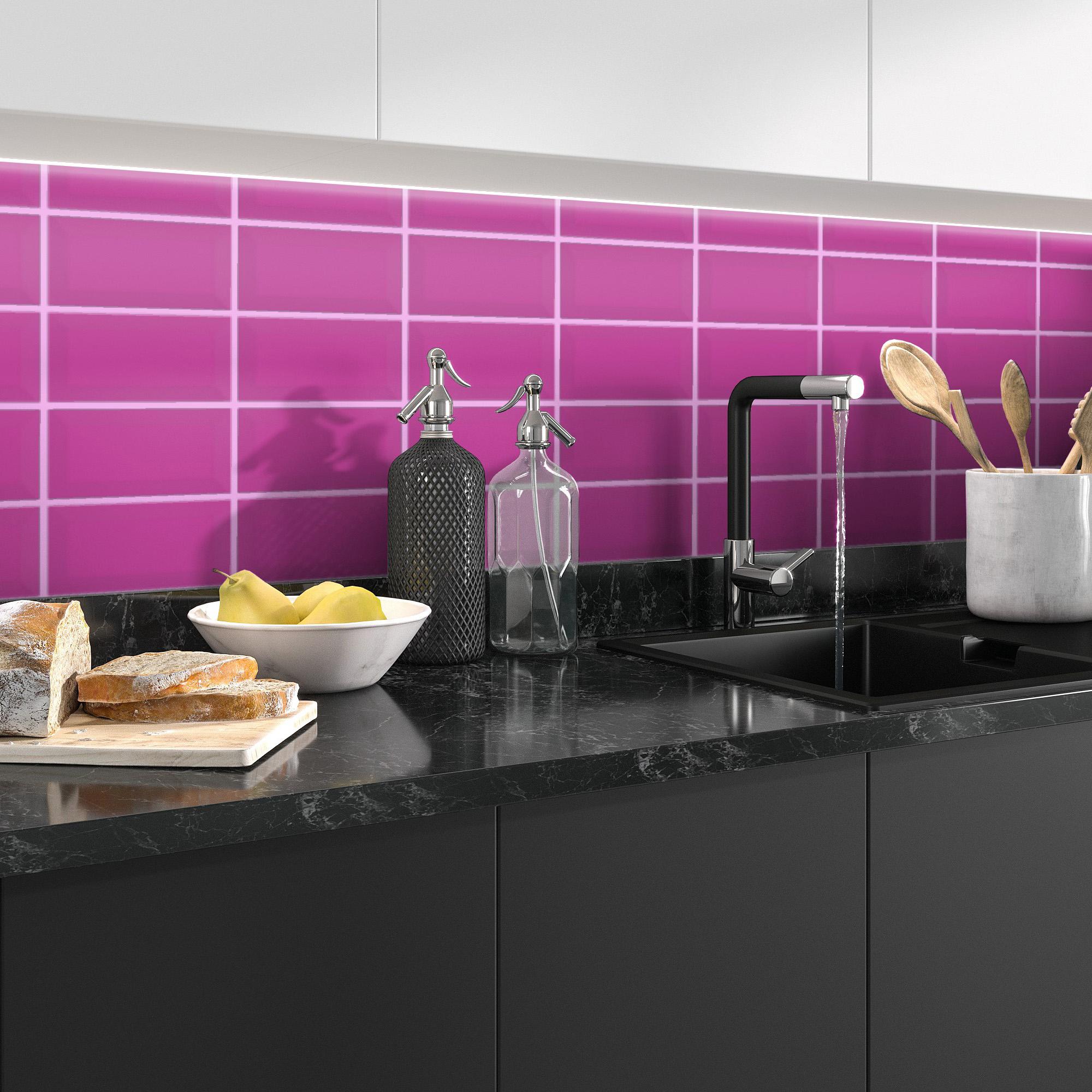 Fasat Kakel Monocolor Rosa Purple Matt 10x20 cm