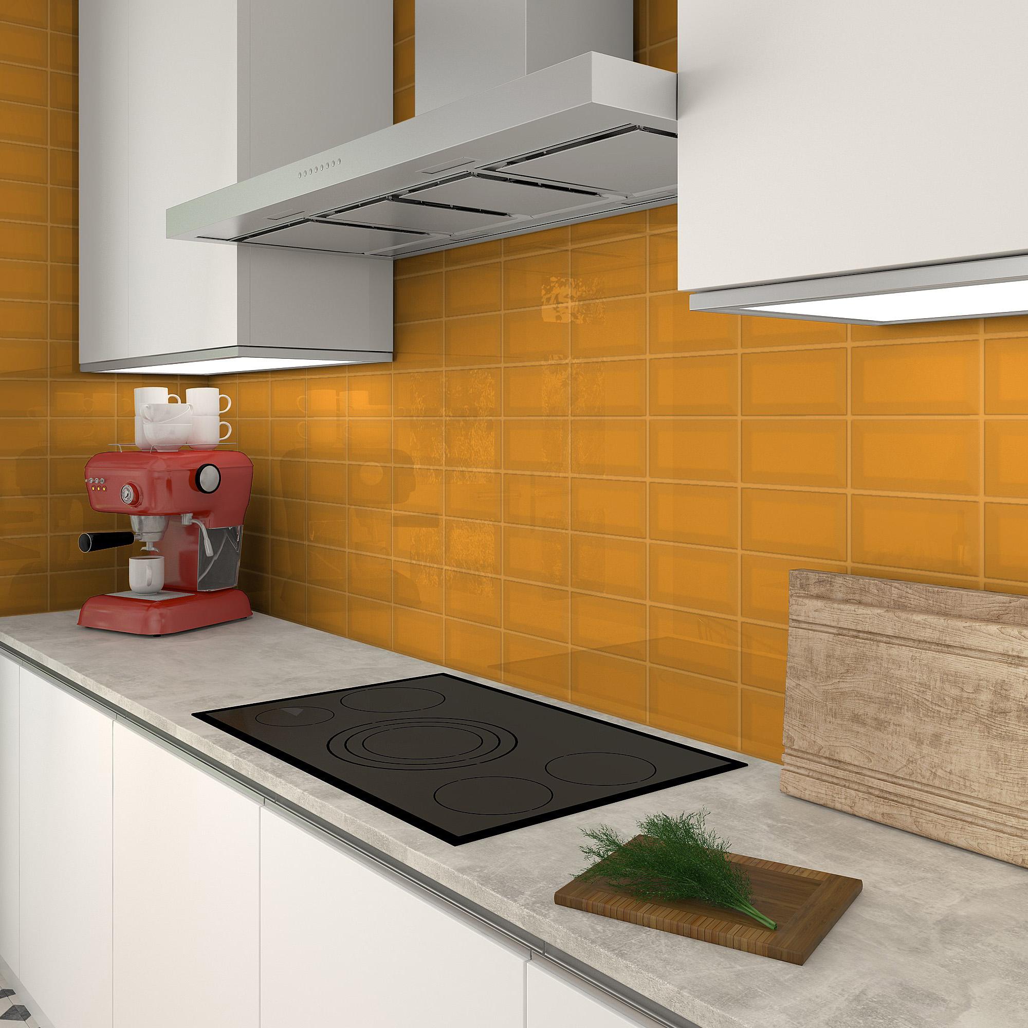 Fasat Kakel Monocolor Orange Ocher Blank 10x20 cm
