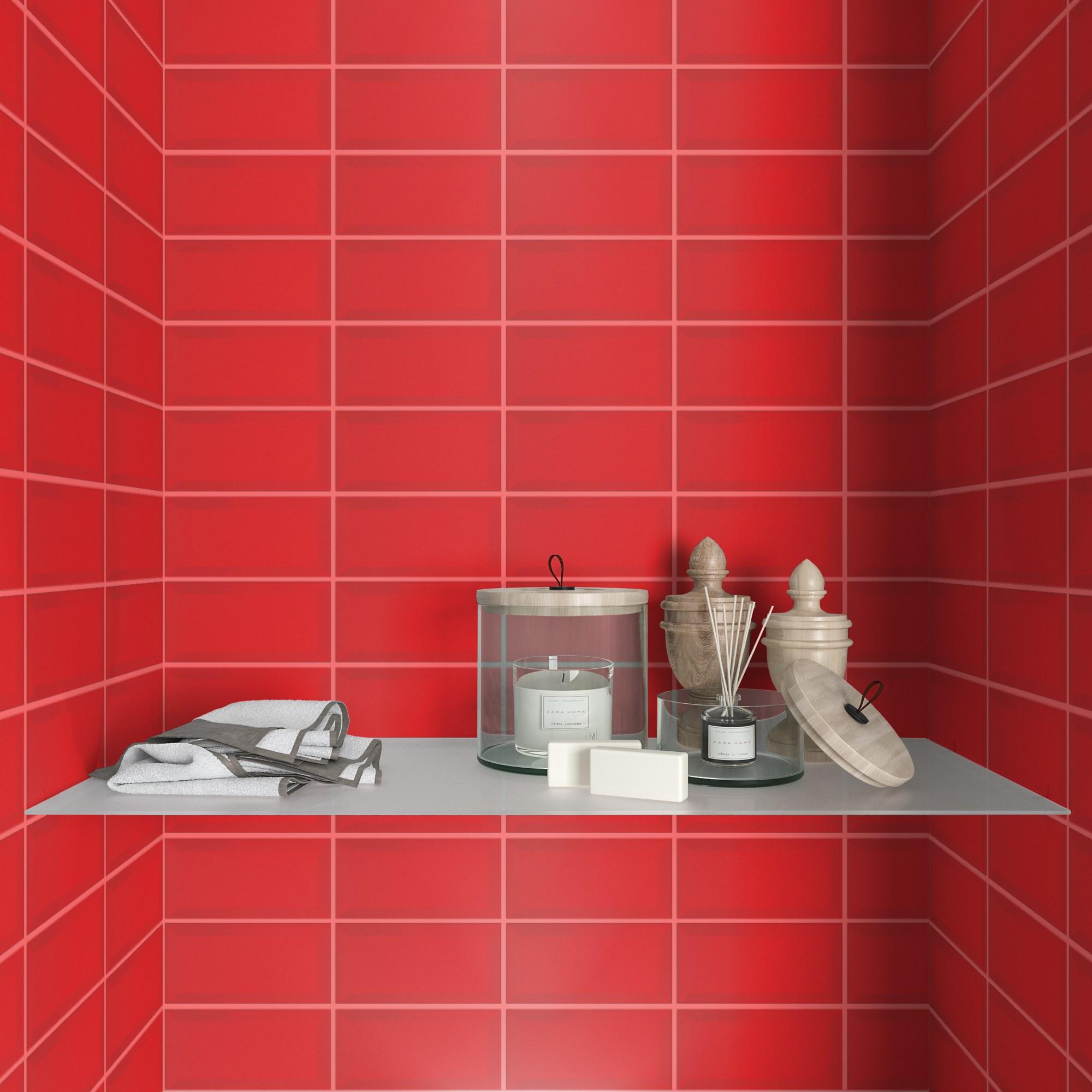 Fasat Kakel Monocolor Röd Blank 10x20 cm