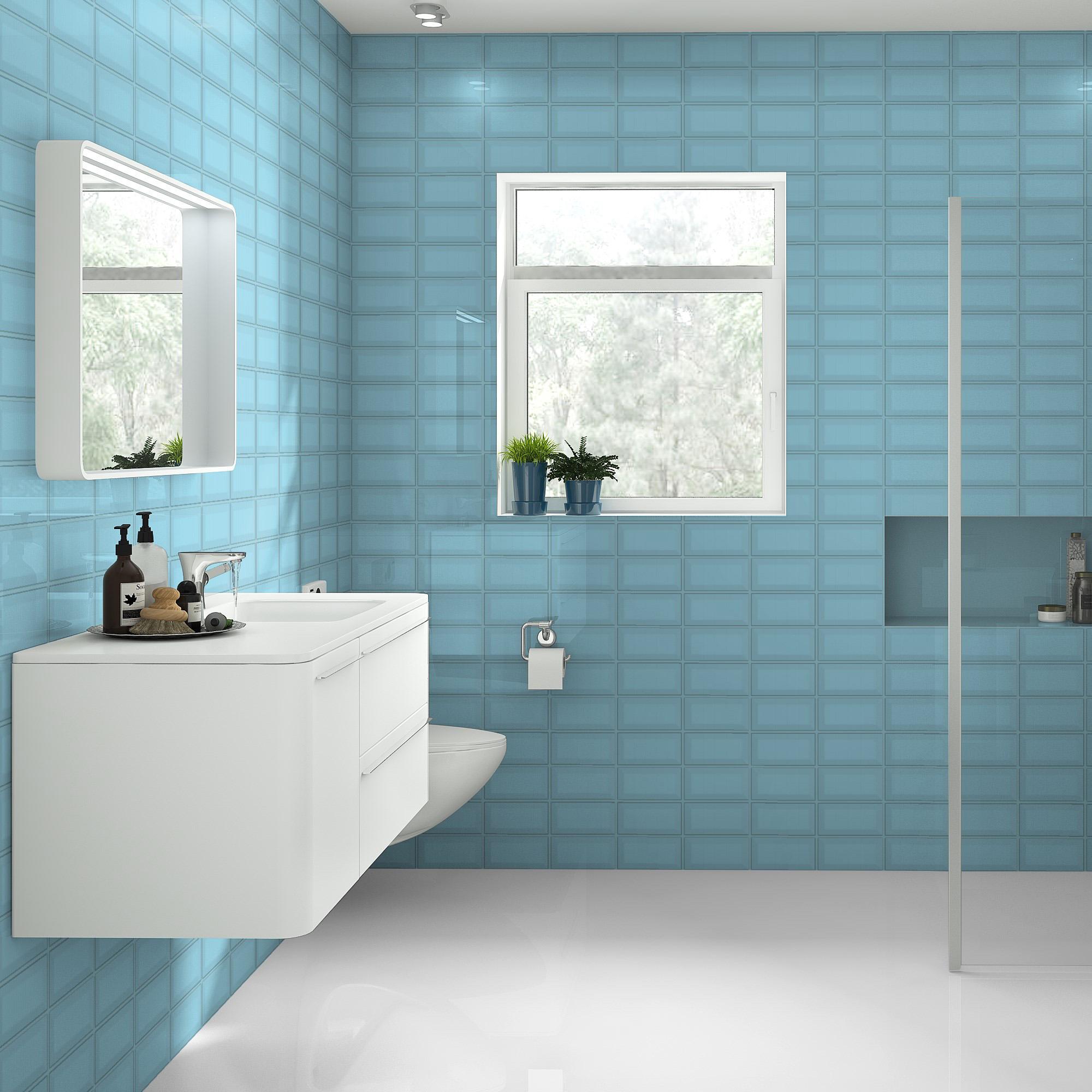 Fasat Kakel Monocolor Blå Water Blank 10x20 cm
