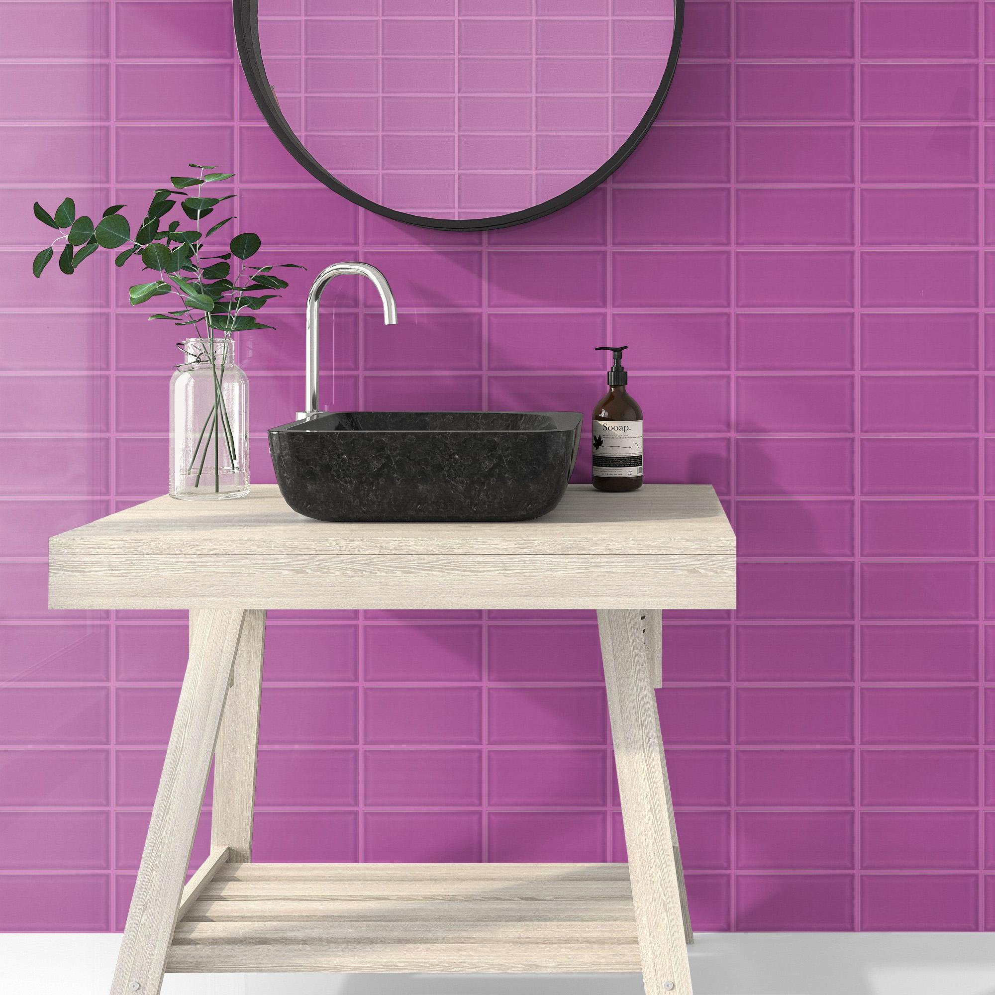 Fasat Kakel Monocolor Rosa Purple Blank 10x20 cm