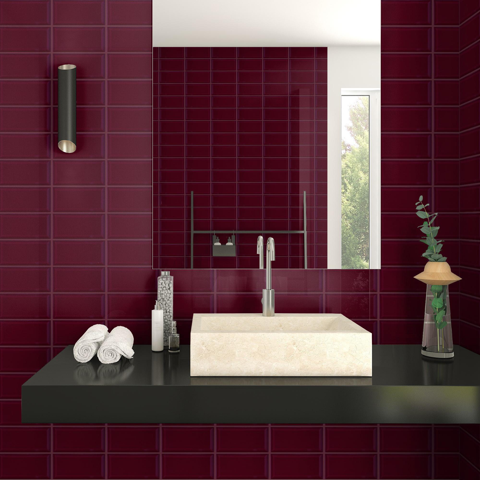 Fasat Kakel Monocolor Röd Bordeaux Blank 10x20 cm