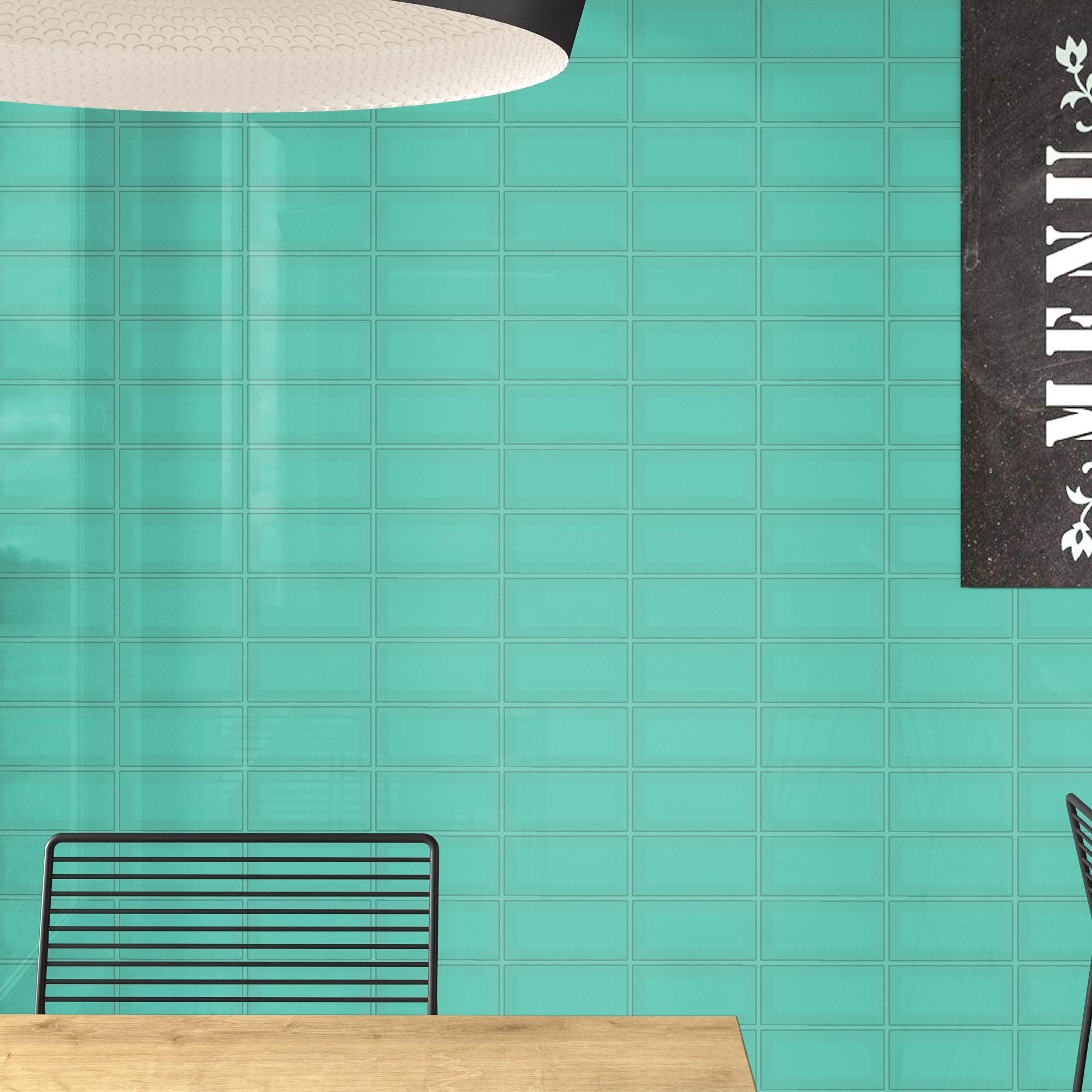 Fasat Kakel Monocolor Turkos Apple Blank 10x20 cm