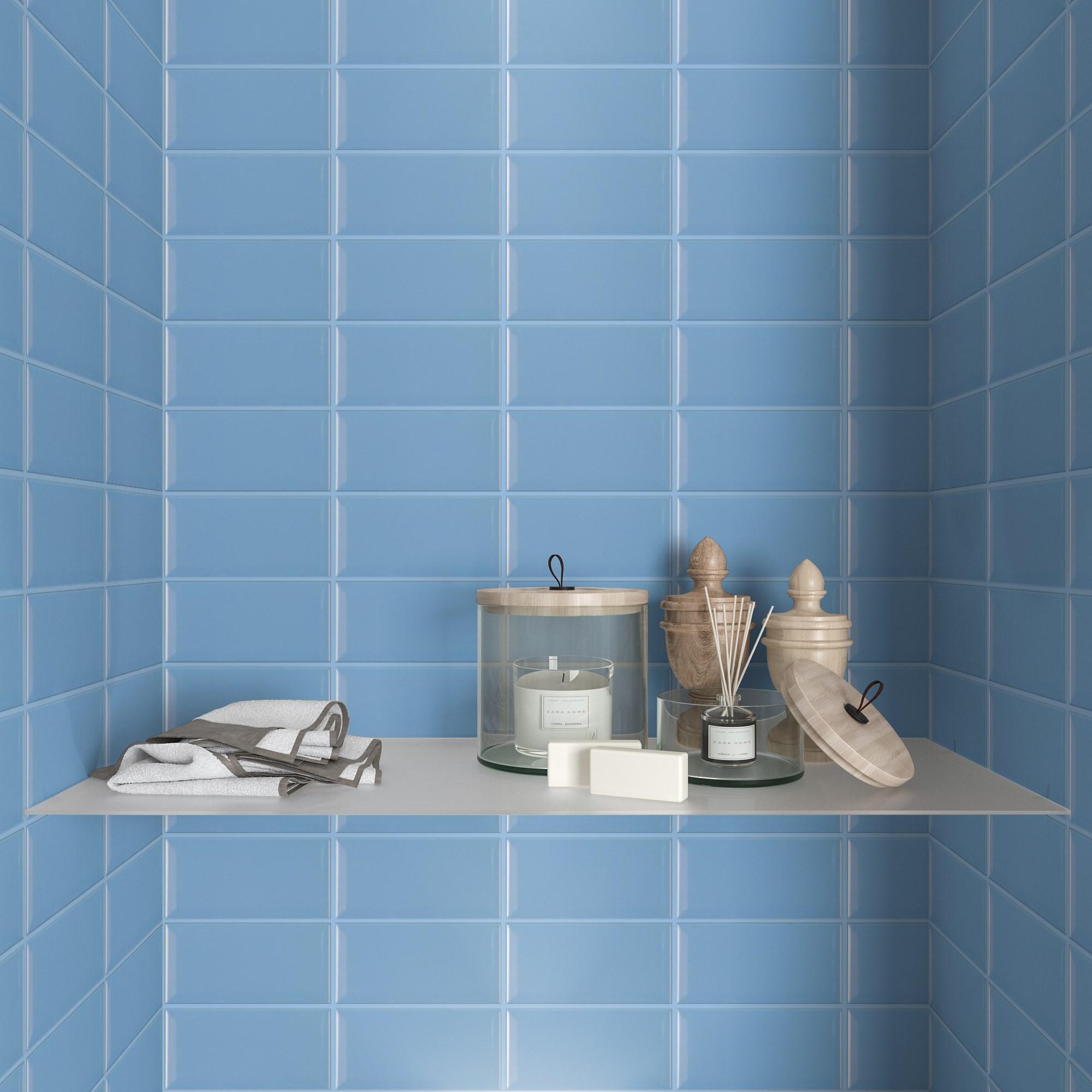 Fasat Kakel Monocolor Mörkgrå Blue Mist Blank 10x20 cm