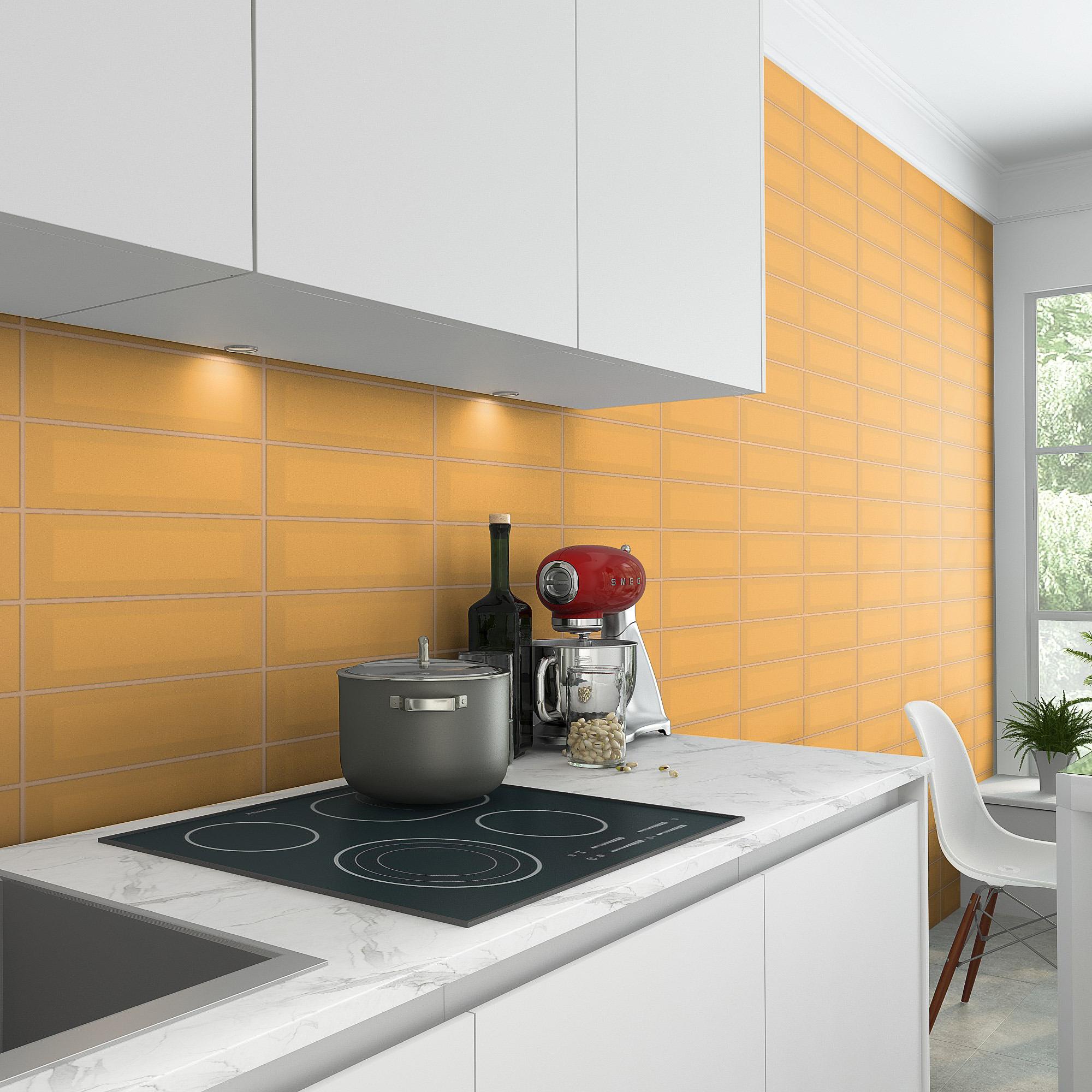 Fasat Kakel Monocolor Orange Mustard Matt 10x30 cm