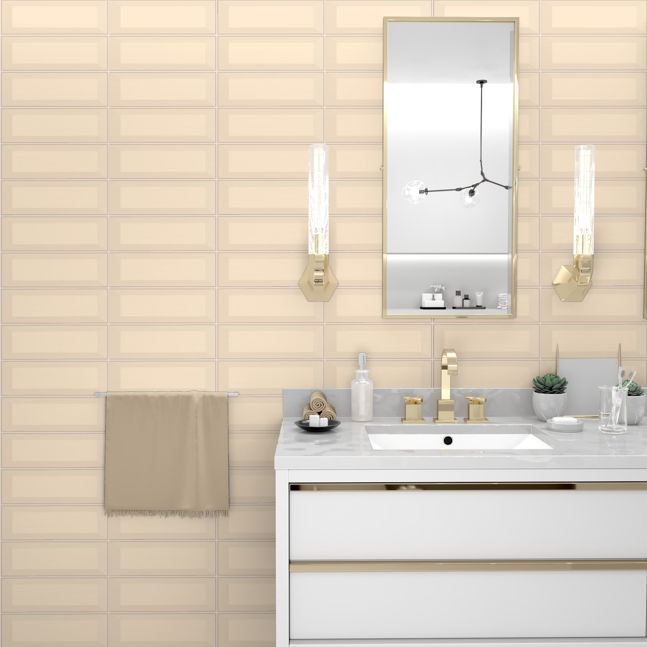 Fasat Kakel Monocolor Beige Cream Matt 10x30 cm