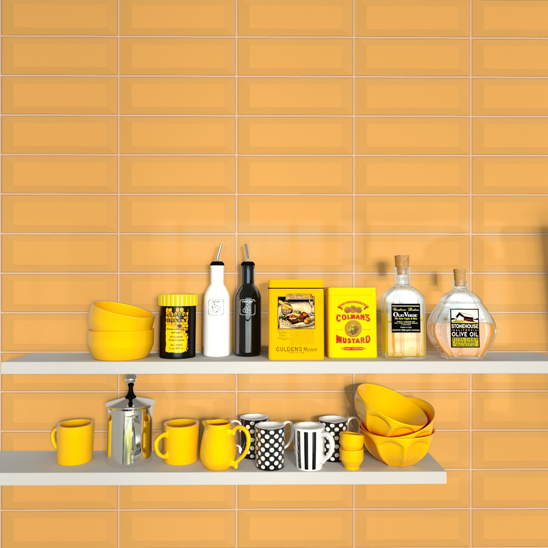 Fasat Kakel Monocolor Orange Mustard Blank 10x30 cm