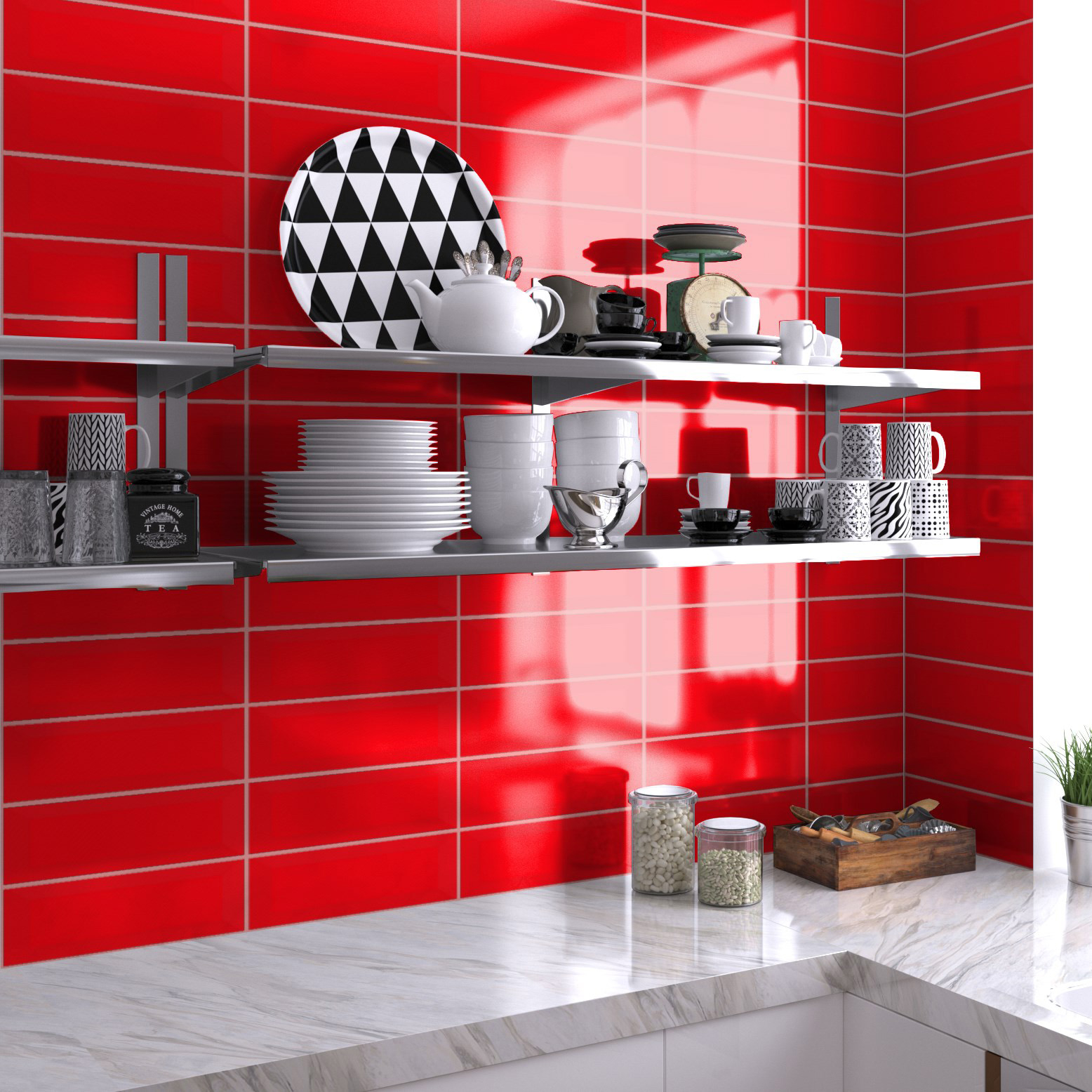 Fasat Kakel Monocolor Röd Fire Blank 10x30 cm