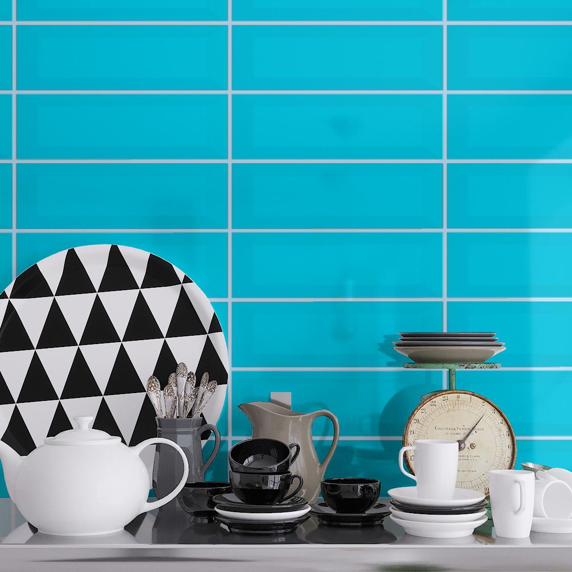 Fasat Kakel Monocolor Blå Air Blank 10x30 cm