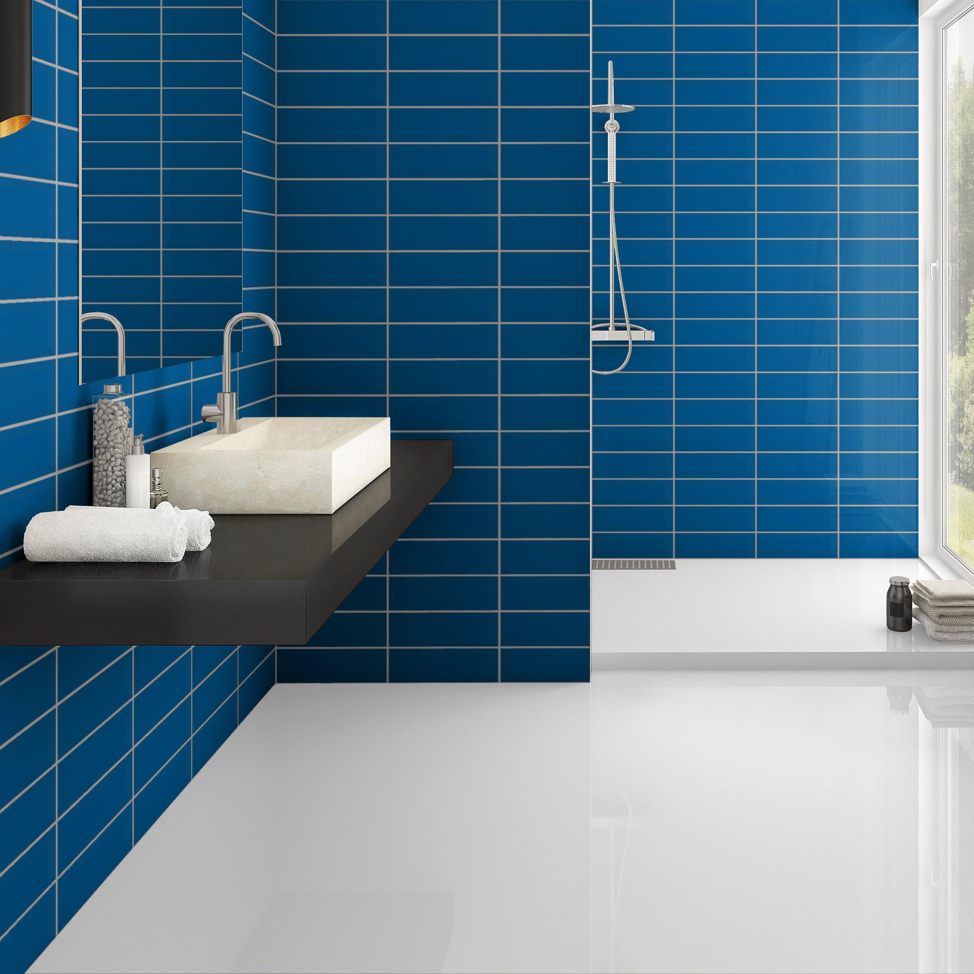 Fasat Kakel Monocolor Blå Sapphire Blank 10x30 cm