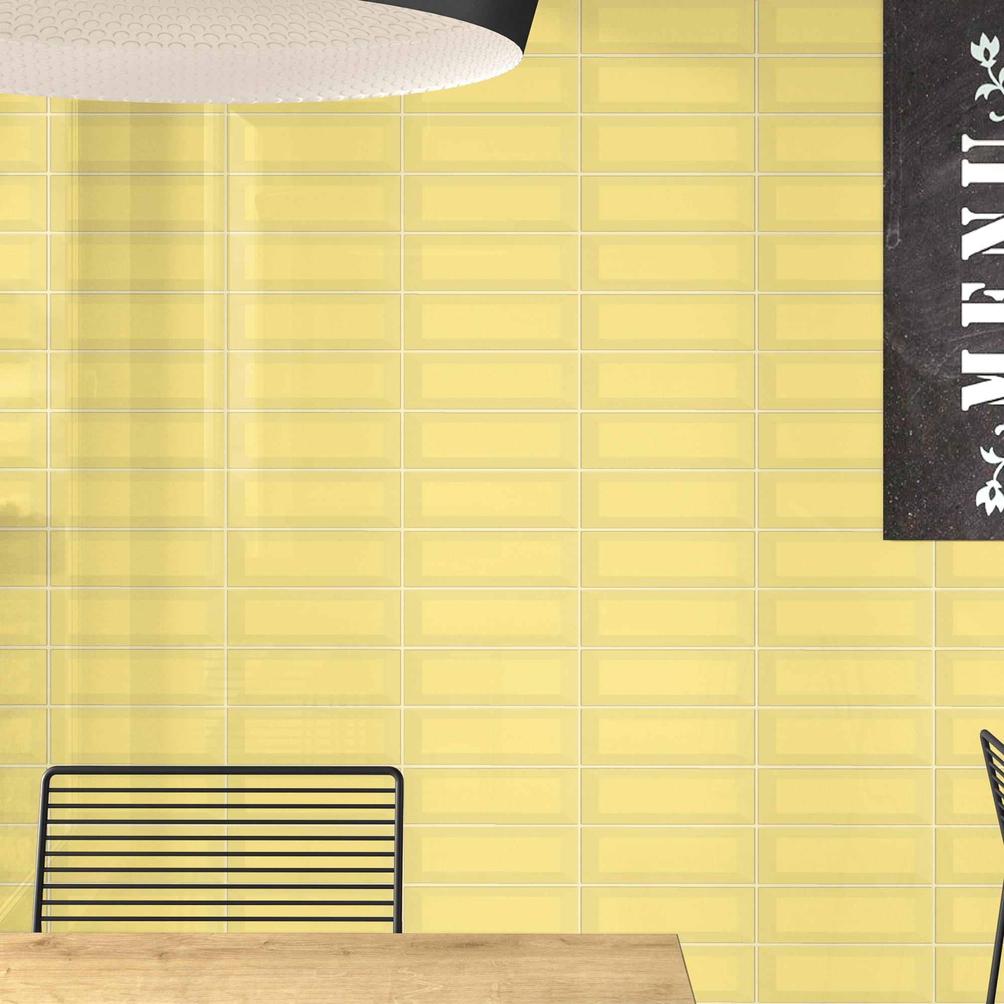 Fasat Kakel Monocolor Gul Blank 10x30 cm
