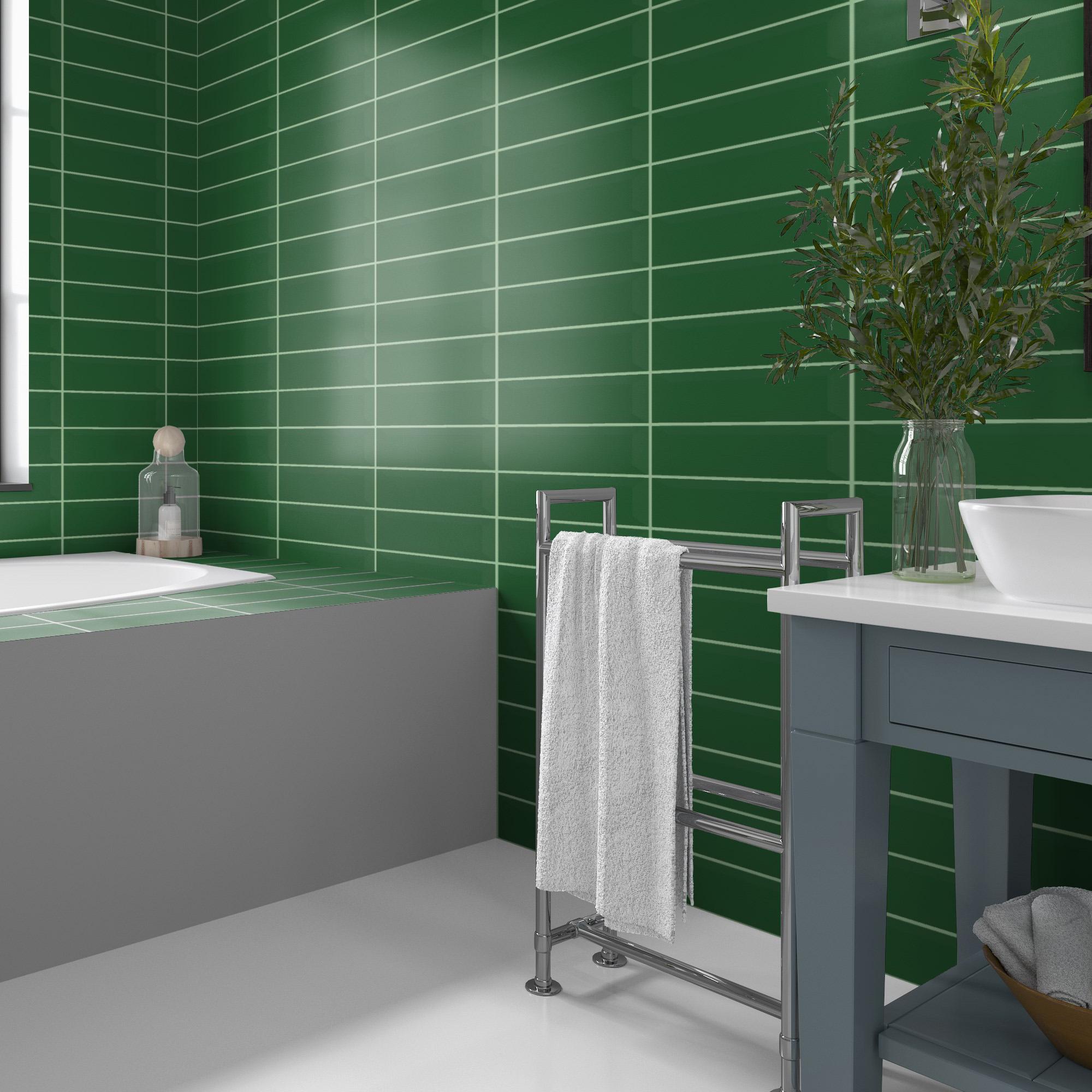 Fasat Kakel Monocolor Grön Bottle Blank 10x30 cm