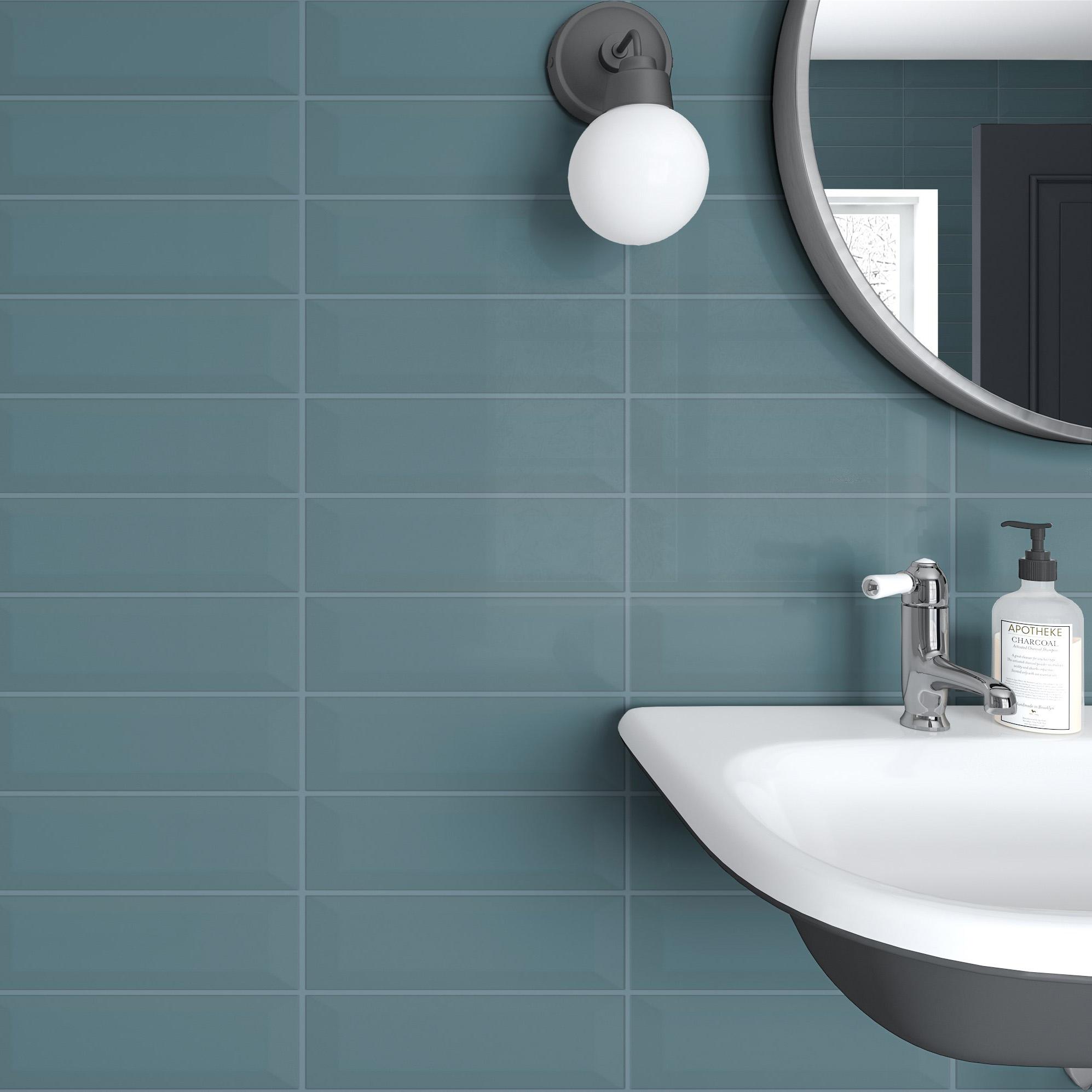 Fasat Kakel Monocolor Blå Blue Mist Blank 10x30 cm