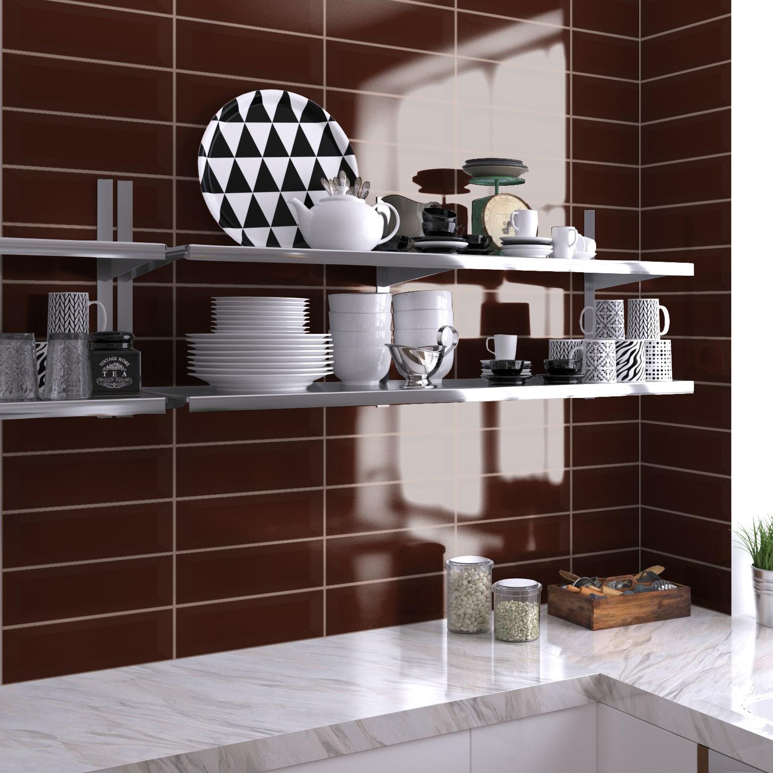 Fasat Kakel Monocolor Brun Chocolate Blank 10x30 cm